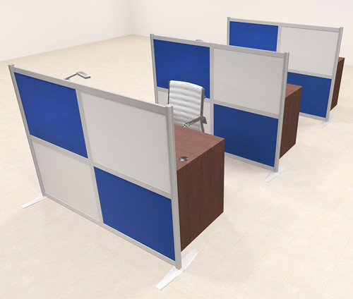 Three Person Workstation w/Acrylic Aluminum Privacy Panel, #OT-SUL-HPB34
