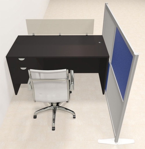One Person Workstation w/Acrylic Aluminum Privacy Panel, #OT-SUL-HPB40