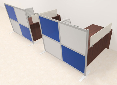 Two Person Workstation w/Acrylic Aluminum Privacy Panel, #OT-SUL-HPB42