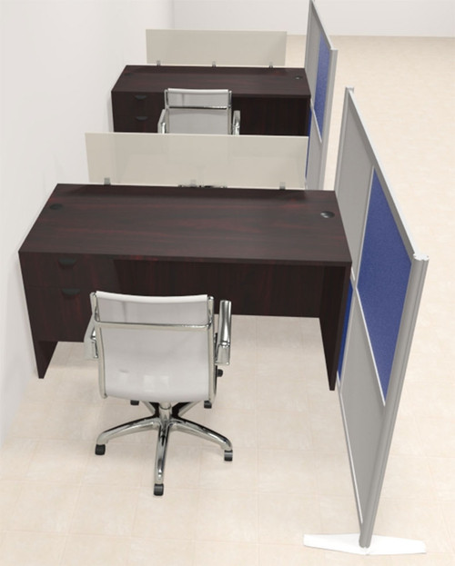 Two Person Workstation w/Acrylic Aluminum Privacy Panel, #OT-SUL-HPB43