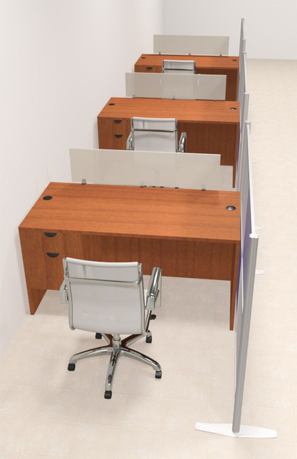 Three Person Workstation w/Acrylic Aluminum Privacy Panel, #OT-SUL-HPB45