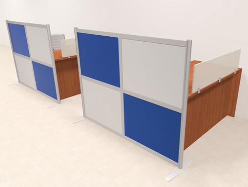 Two Person Workstation w/Acrylic Aluminum Privacy Panel, #OT-SUL-HPB5