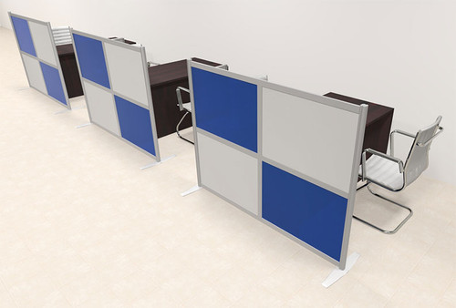 Three Person Workstation w/Acrylic Aluminum Privacy Panel, #OT-SUL-HPB59