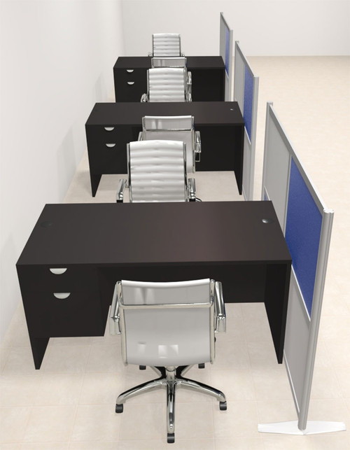 Three Person Workstation w/Acrylic Aluminum Privacy Panel, #OT-SUL-HPB60