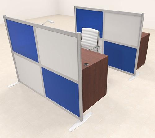 Two Person Workstation w/Acrylic Aluminum Privacy Panel, #OT-SUL-HPB66
