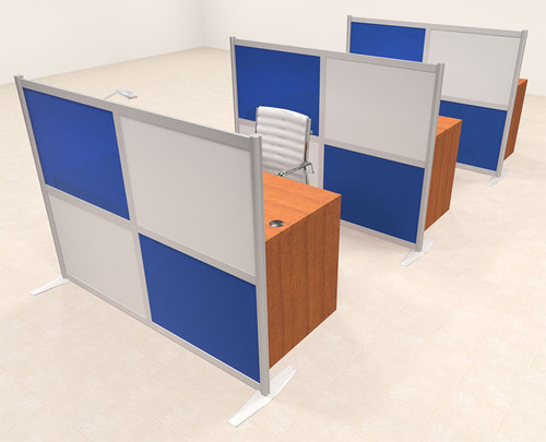 Three Person Workstation w/Acrylic Aluminum Privacy Panel, #OT-SUL-HPB69