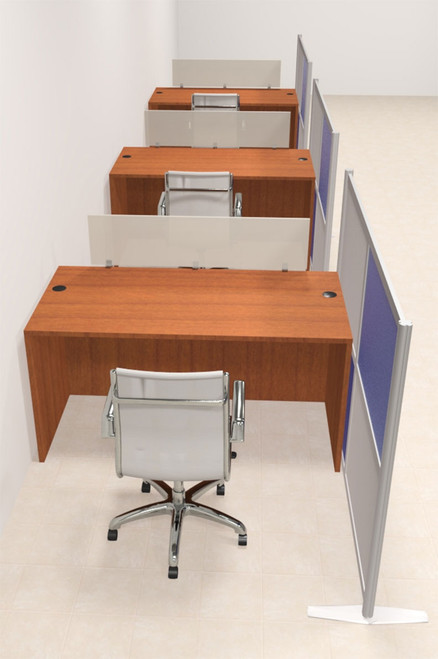 Three Person Workstation w/Acrylic Aluminum Privacy Panel, #OT-SUL-HPB9