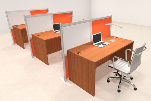 Three Person Workstation w/Acrylic Aluminum Privacy Panel, #OT-SUL-HPO105