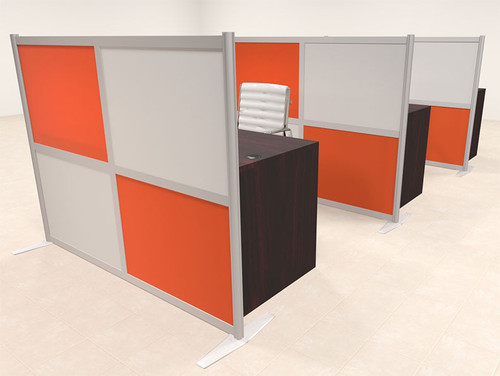 Three Person Workstation w/Acrylic Aluminum Privacy Panel, #OT-SUL-HPO107