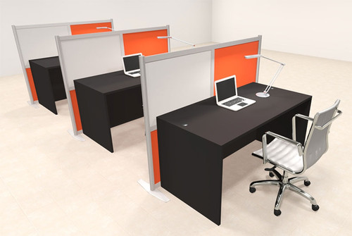 Three Person Workstation w/Acrylic Aluminum Privacy Panel, #OT-SUL-HPO108