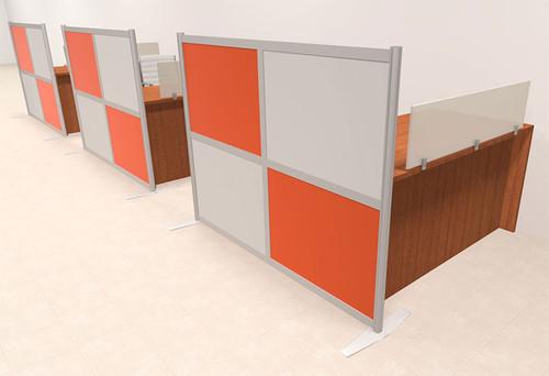 Three Person Workstation w/Acrylic Aluminum Privacy Panel, #OT-SUL-HPO117