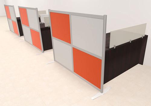 Three Person Workstation w/Acrylic Aluminum Privacy Panel, #OT-SUL-HPO83