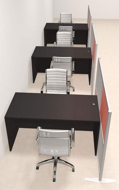 Three Person Workstation w/Acrylic Aluminum Privacy Panel, #OT-SUL-HPO96