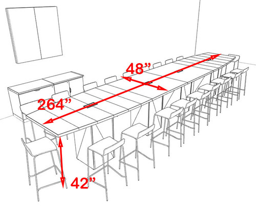 Boat Shape Counter Height 20' Feet Conference Table, #OF-CON-CT34