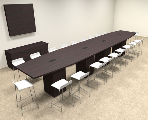 Boat Shape Counter Height 20' Feet Conference Table, #OF-CON-CT35