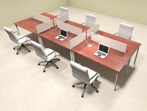 Six Persons Modern Acrylic Divider Workstation, #MT-FIV-FP16