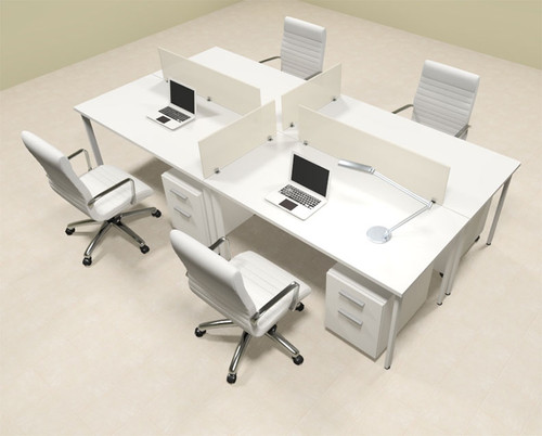 Four Persons Modern Acrylic Divider Workstation, #MT-FIV-FP25