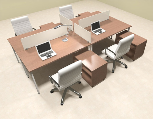 Four Persons Modern Acrylic Divider Workstation, #MT-FIV-FP75