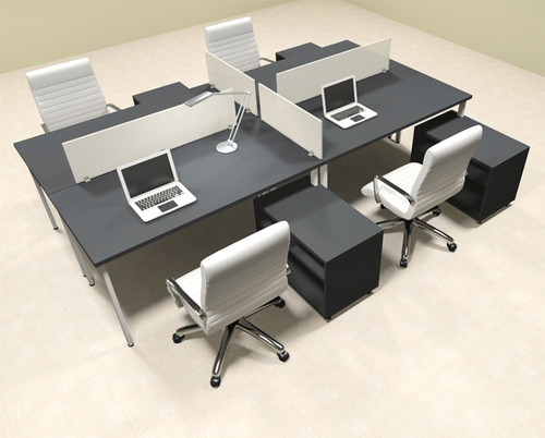 Four Persons Modern Acrylic Divider Workstation, #MT-FIV-FP78