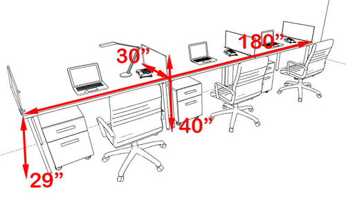 Three Persons Modern Acrylic Divider Workstation, #MT-FIV-SP32