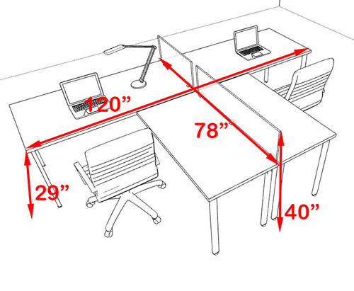 Two Persons L Shaped Modern Acrylic Divider Workstation, #MT-FIV-SP74