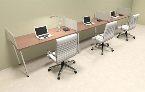 Three Persons Modern Acrylic Divider Workstation, #MT-FIV-SP9