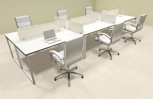 Six Person Modern Acrylic Divider Office Workstation, #AL-OPN-FP13