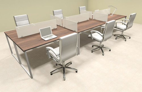 Six Person Modern Acrylic Divider Office Workstation, #AL-OPN-FP15