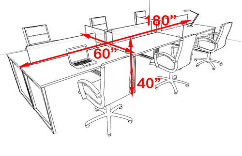 Six Person Modern Acrylic Divider Office Workstation, #AL-OPN-FP18