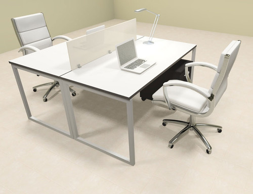 Two Person Modern Acrylic Divider Office Workstation, #AL-OPN-FP19