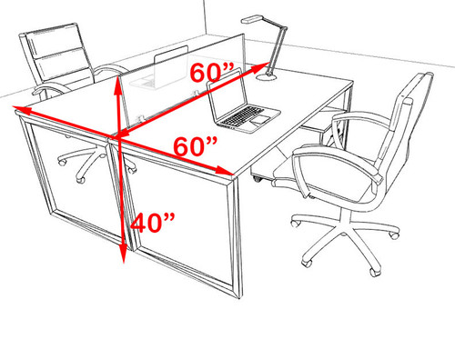 Two Person Modern Acrylic Divider Office Workstation, #AL-OPN-FP20