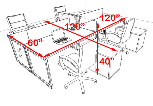 Four Person Modern Acrylic Divider Office Workstation, #AL-OPN-FP45
