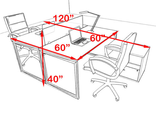 Two Person Modern Acrylic Divider Office Workstation, #AL-OPN-FP57