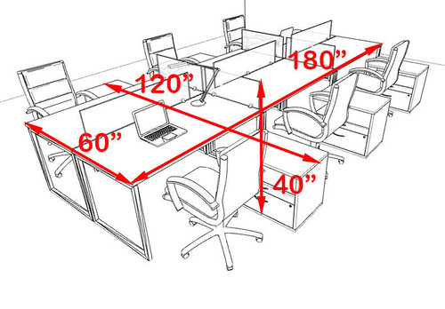 Six Person Modern Acrylic Divider Office Workstation, #AL-OPN-FP68