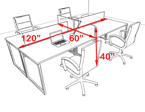 Four Person Modern Acrylic Divider Office Workstation, #AL-OPN-FP9