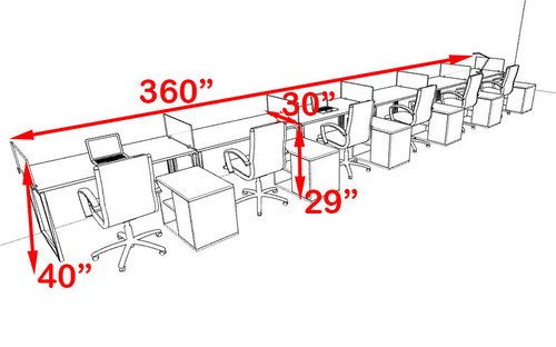 Six Person Modern Acrylic Divider Office Workstation, #AL-OPN-SP107