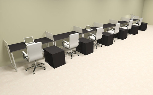Six Person Modern Acrylic Divider Office Workstation, #AL-OPN-SP108