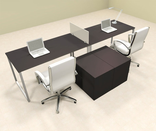 Two Person Modern Acrylic Divider Office Workstation, #AL-OPN-SP12
