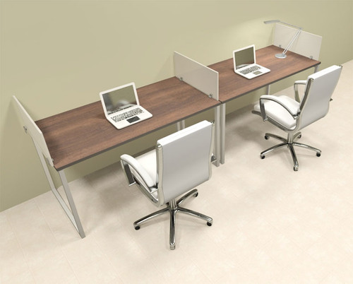 Two Person Modern Acrylic Divider Office Workstation, #AL-OPN-SP15