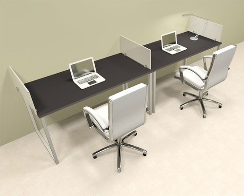 Two Person Modern Acrylic Divider Office Workstation, #AL-OPN-SP18