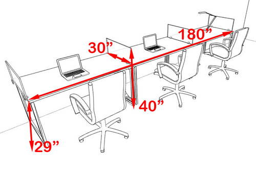 There Person Modern Acrylic Divider Office Workstation, #AL-OPN-SP19