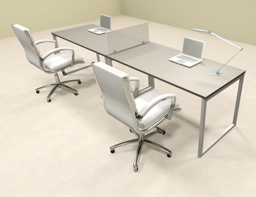 Two Person Modern Acrylic Divider Office Workstation, #AL-OPN-SP2