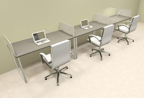 There Person Modern Acrylic Divider Office Workstation, #AL-OPN-SP20