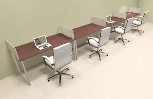 Four Person Modern Acrylic Divider Office Workstation, #AL-OPN-SP34