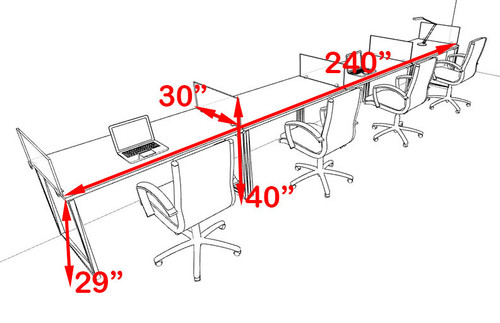 Four Person Modern Acrylic Divider Office Workstation, #AL-OPN-SP36