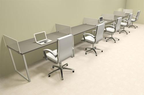 Five Person Modern Acrylic Divider Office Workstation, #AL-OPN-SP38