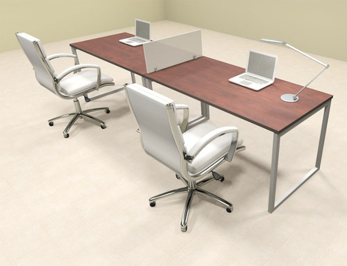Two Person Modern Acrylic Divider Office Workstation, #AL-OPN-SP4