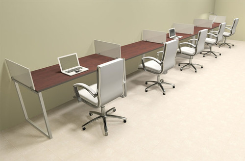 Five Person Modern Acrylic Divider Office Workstation, #AL-OPN-SP40