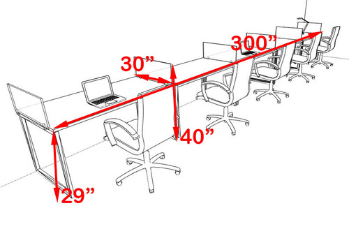 Five Person Modern Acrylic Divider Office Workstation, #AL-OPN-SP41