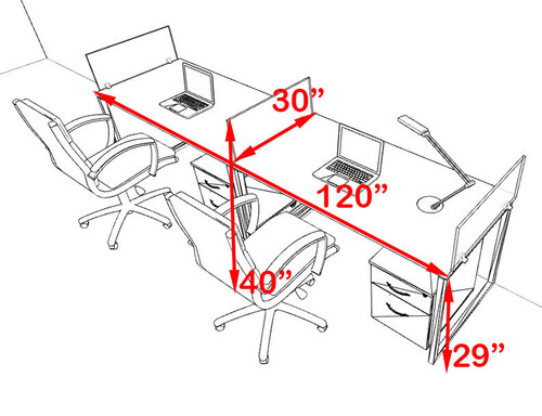 Two Person Modern Acrylic Divider Office Workstation, #AL-OPN-SP51